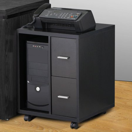 Cpu Storage Cabinet (Yaheetech Black Computer CPU Stand Cabinet with 2 Storage Drawers on Casters)