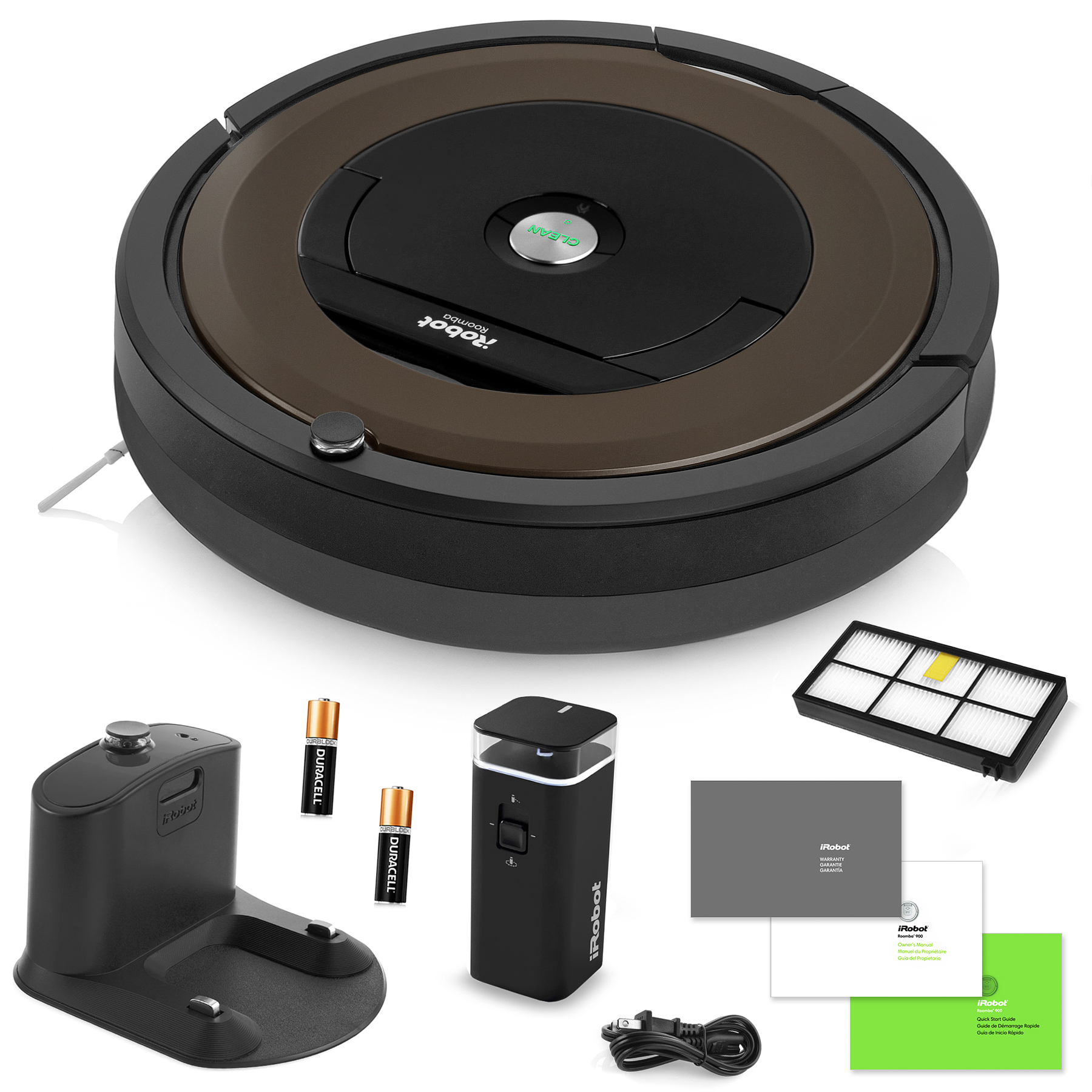 iRobot Roomba 890 Vacuum Cleaning Robot + Dual Mode Virtual Wall Barrier (With Batteries) +