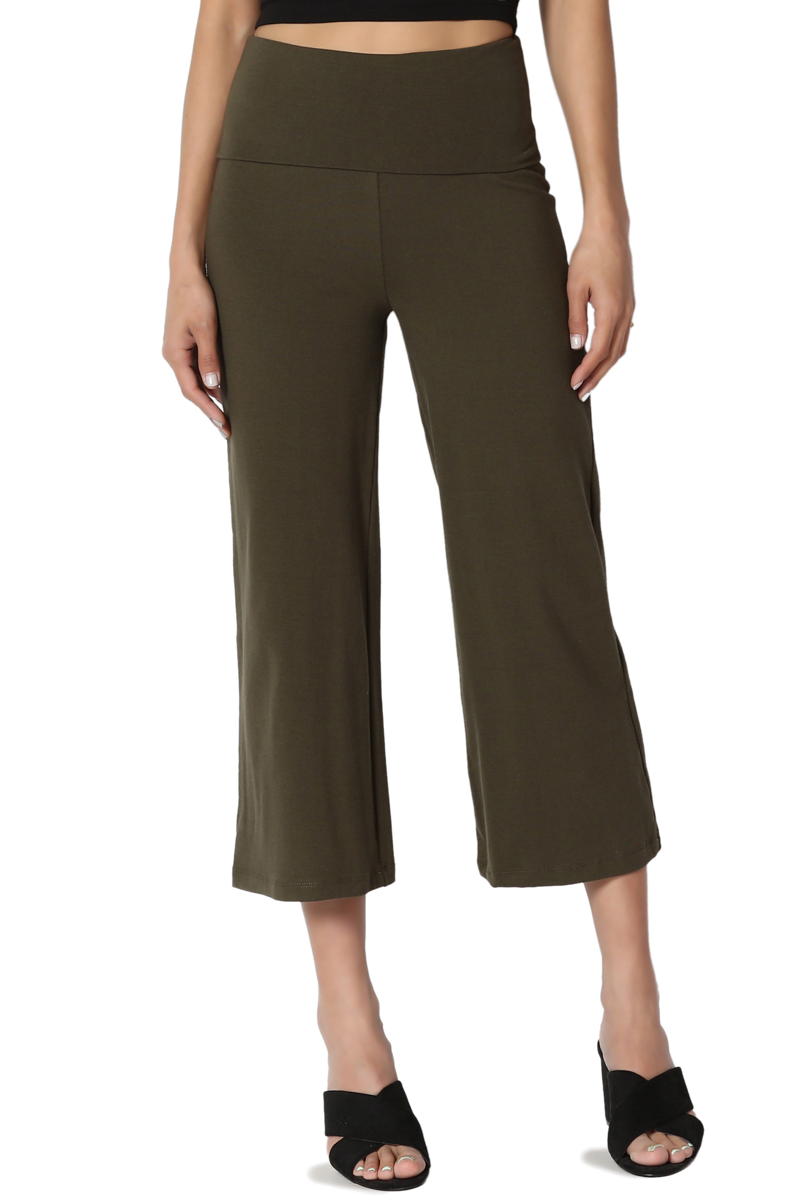 TheMogan Women's Foldover Wide Waistband Thick Stretch Cotton Crop Capri Yoga Pants