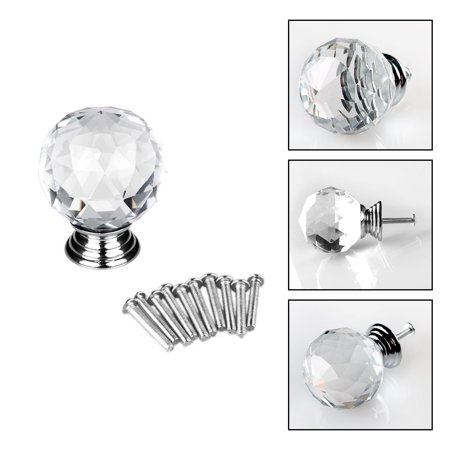 Lead Crystal Knob (30mm Diamond Crystal Glass Drawer Knobs Home Kitchen Cabinet Cupboard Pull Handle)