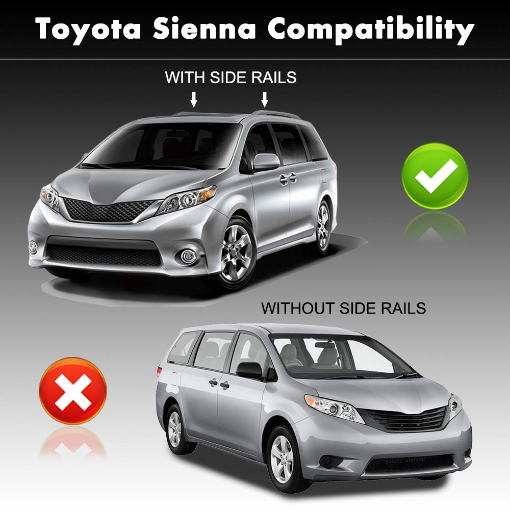For 11-18 Toyota Sienna Aluminum Black Car Roof Top Cross Bar Luggage Cargo Rack