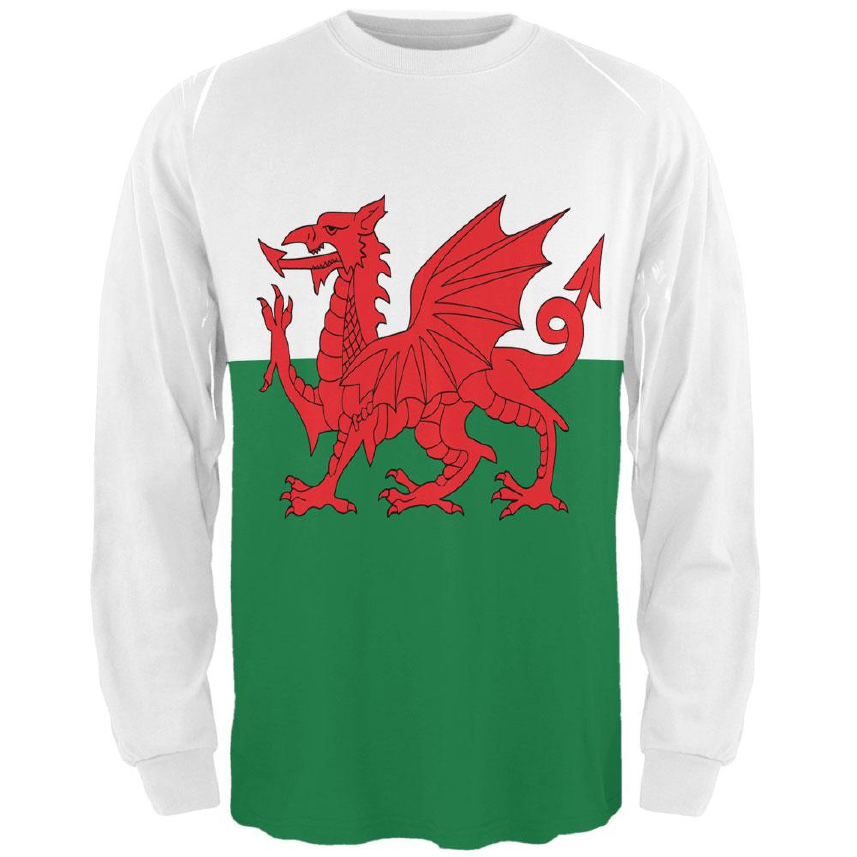 Welsh Flag All Over Adult Long Sleeve T-Shirt