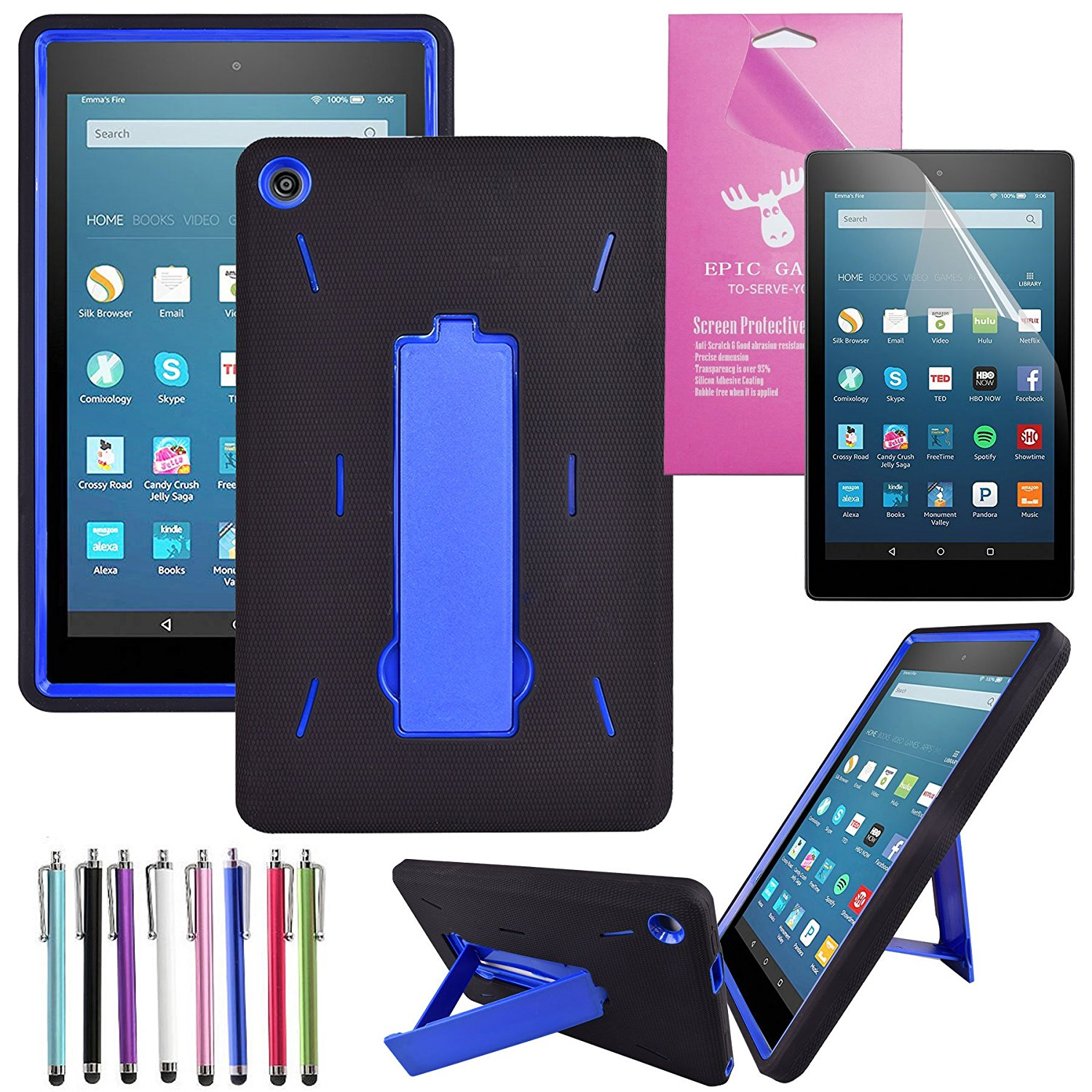 "Fire HD 8 Case 2016, EpicGadget(TM) Amazon Fire HD 8"" (6th Generation 2016 release) Kid-proof Case Full Body Cover with Kick Stand For Fire HD 8 inch Display + Fire HD 8 Screen Protector(Black/Blue)"
