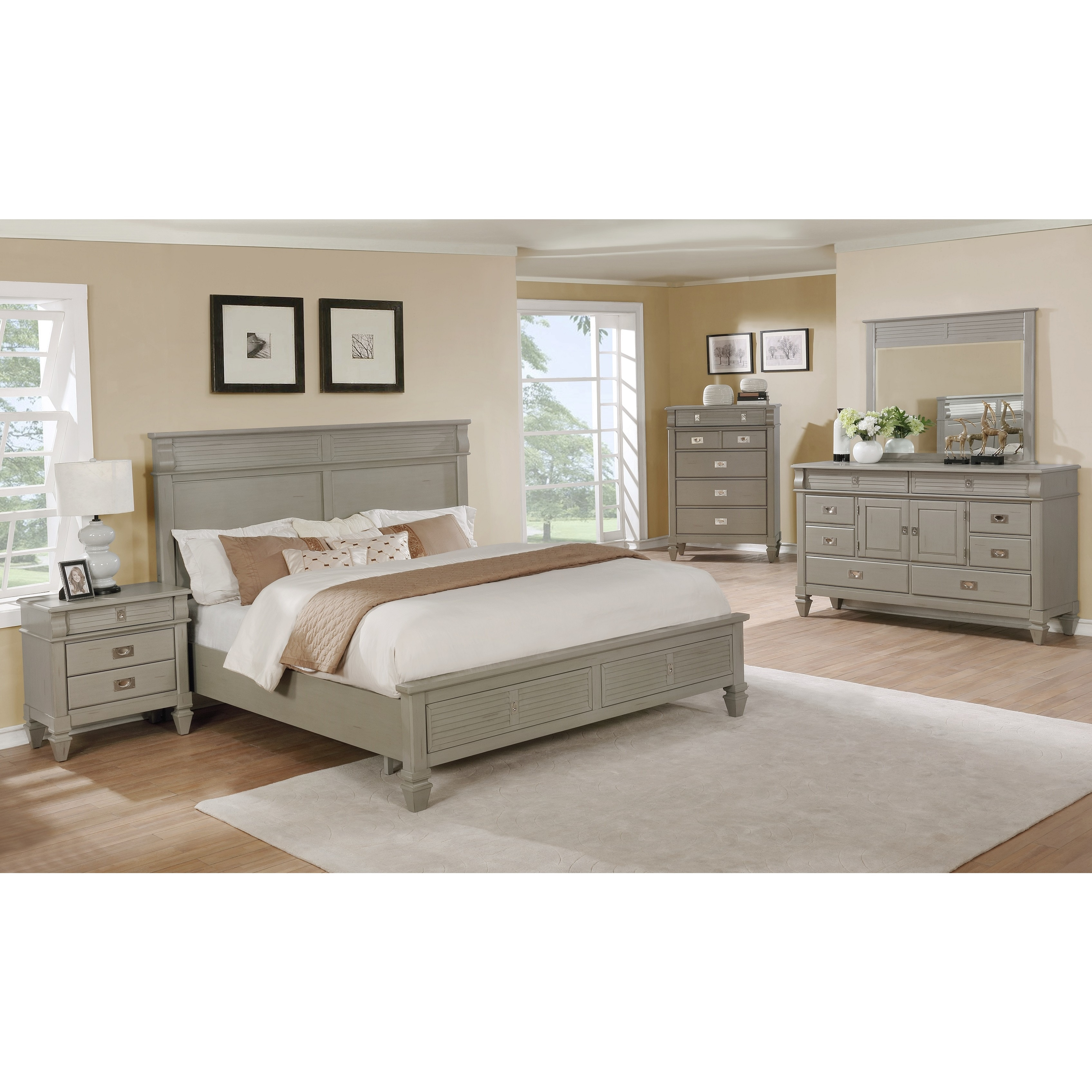 Roundhill Furniture York 10 Solid Wood Construction Bedroom Set with King  Size Bed, Dresser, Mirror, Chest and Night Stand