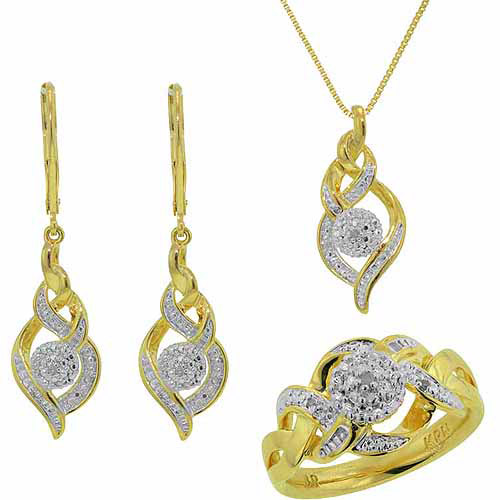 "Accent Carat T.W. Round White Diamond Rhodium-plated Ring, Earrings and Pendant Set, 18"", Size 7"