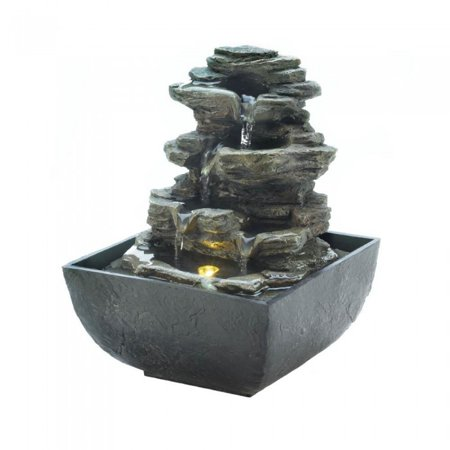 - TIERED ROCK FORMATION TABLETOP FOUNTAIN