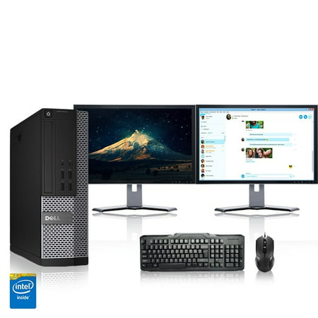 "Refurbished - Dell Optiplex Desktop Computer 3.2 GHz Core i5 Tower PC, 4GB, 1TB HDD, Windows 10 Home x64, 22"" Dual Monitor , Radeon 128MB DDR2, USB Mouse & Keyboard"