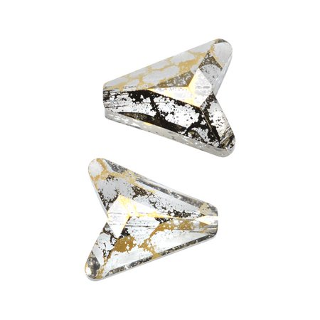 Two Crystal Beads (Swarovski Crystal, #5748 Arrow Beads 12mm, 2 Pieces, Crystal Gold Patina)