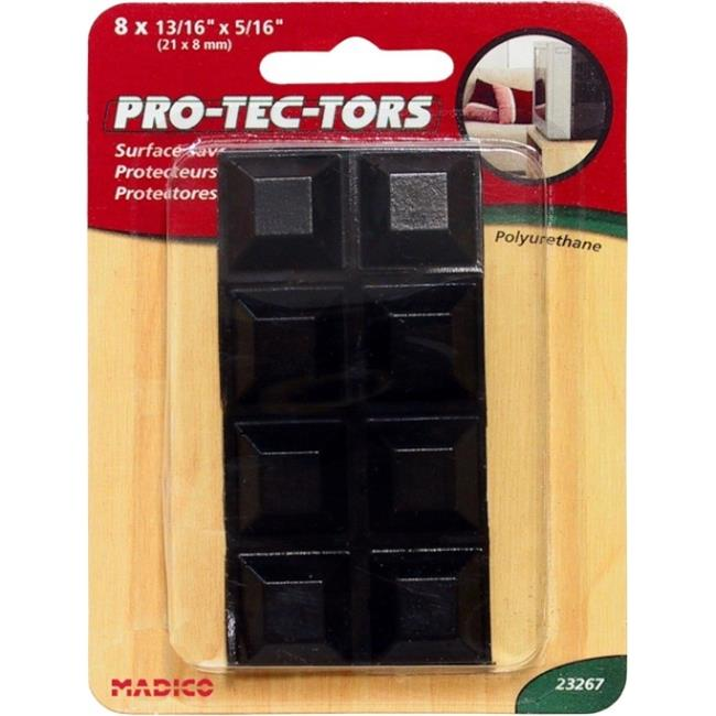 MADICO 23267 Pro-Tec-Tors - .81 in. Self Adhesive Square Polyurethane Bumper Pads - Black - 10 Packs