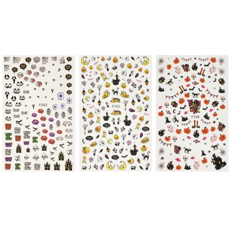 ALLYDREW 3 Sheets Spooky Halloween Nail Art Halloween Nail Stickers