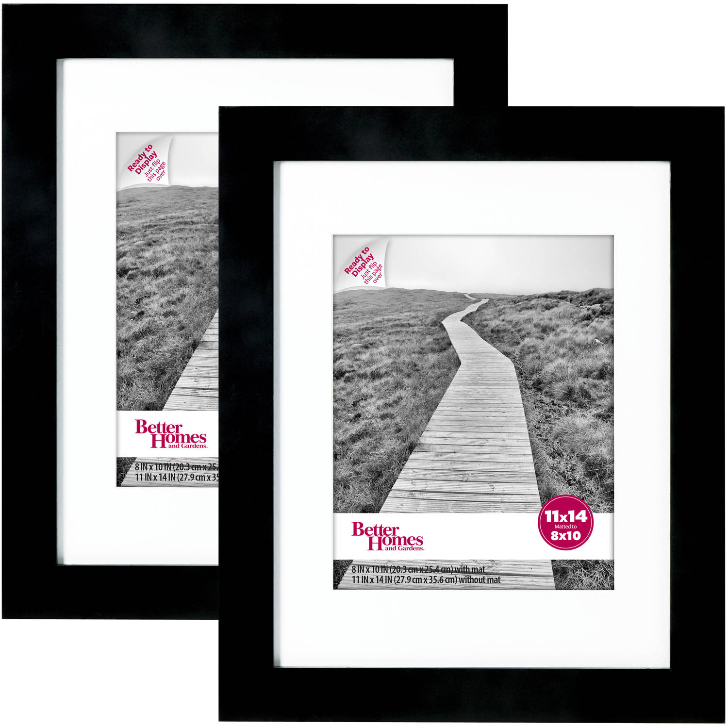 "Wide Black Gallery Frames, 11"" x 14"" matted to 8"" x 10"", 2-Pack"