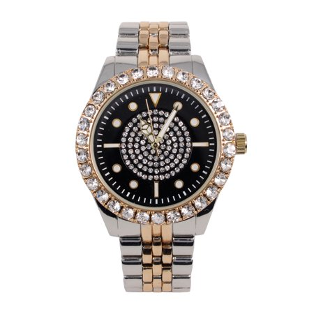 Men's Two Tone Luxury Line Watch with Studded Bezel and Black Dial