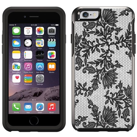9aa5b2098d SKIN DECAL FOR OtterBox Symmetry Apple iPhone 6 Case - Black Leaves Lace on  White DECAL, NOT A CASE - Walmart.com