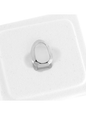 Single Tooth Grillz Hip Hop White Gold Finish Hip Hop Open Face Upper Mouth Cap