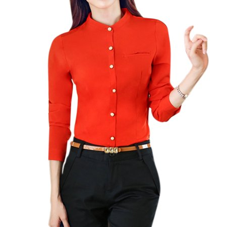 Women stand collar single breasted slim fit shirt for Stand collar shirt womens