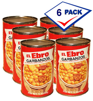 El Ebro garbanzos with bacon and Chorizo 15 oz Pack of 6 by