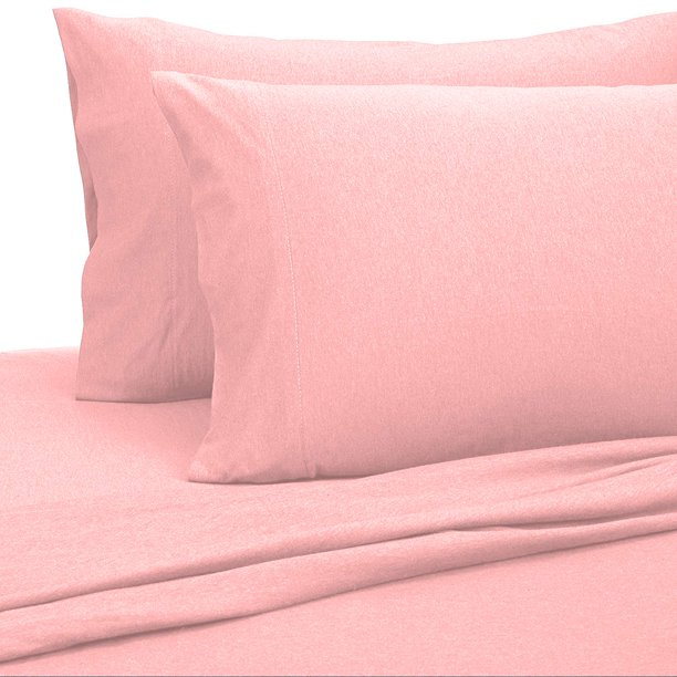 Jersey Sheets King [4-Piece, Pink] Cotton Bed Sheets - Extra Soft Cotton Sheet Set, Cozy T-Shirt All Season Heather Sheets - Deep Pocket Fitted Sheet, Flat Sheet, Pillow Cases