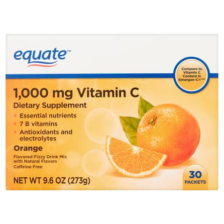 La vitamine C orange aromatisée Fizzy Drink Mix 1000 mg 96 oz 30 Pack