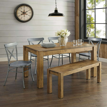 Better Homes Gardens Bryant Solid Wood Dining Bench Rustic Brown