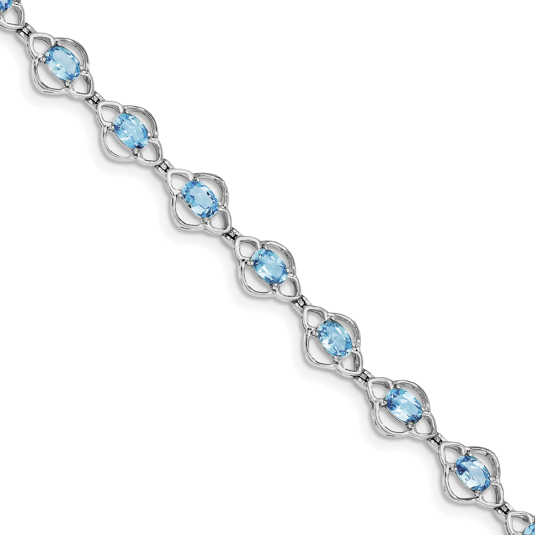 Roy Rose Jewelry Sterling Silver Light Swiss Blue Topaz Bracelet ~ Length 7'' inches by