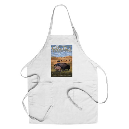 Custer Park, South Dakota - Buffalo Herd and Calf - Lantern Press Artwork (Cotton/Polyester Chef's (Custer State Park Buffalo)