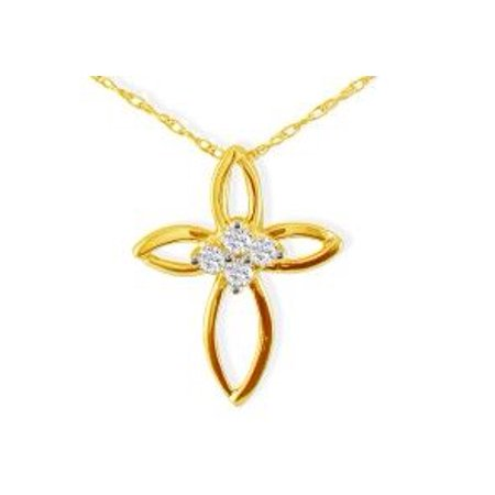 (.10ct 4 Diamond Center Point Cross Pendant in 10k Yellow Gold)