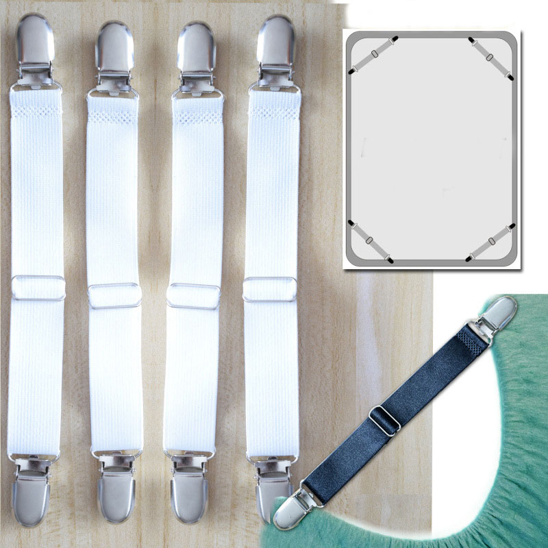 4PCS-Adjustable Drawstring Support Straps Bed Cover Sofa Cover Non-slip Elastic Adjustable Clip-Black