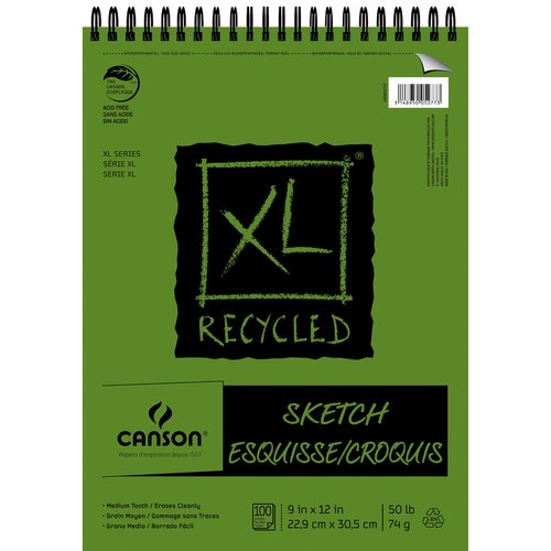 "Canson XL 9"" x 12"" Top Wire Recycled Sketch Pad, 100 Sheets"