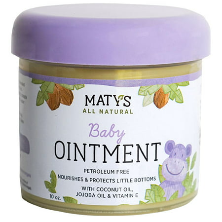 Maty's All Natural Baby Ointment, Petroleum Free, Safe for Cloth Diapers, Natural Alternative to Petroleum-Based Diaper Rash Creams, Safe For Sensitive Skin, Chemical & Fragrance Free, 10 Oz