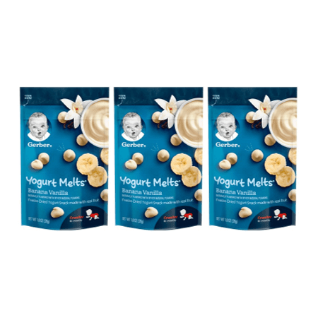 (3 Pack) Gerber Yogurt Melts, Banana Vanilla, 1 (Snacks For 1 Year Old Baby India)