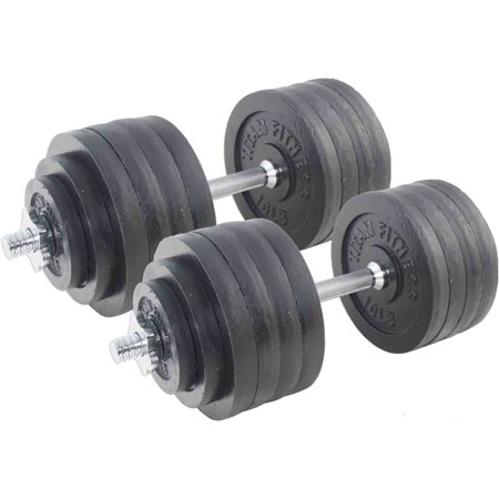 - Pair of Adjustable Cast Iron Dumbbells Weight 200 lb Kit Set