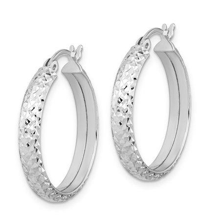Sterling Silver Rhodium-plated Diamond-cut Hoop Earrings QE11604 - image 1 de 2