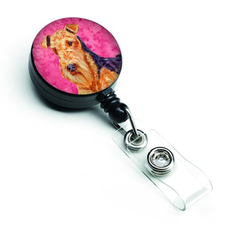 Pink Badge (Pink Airedale Retractable Badge)