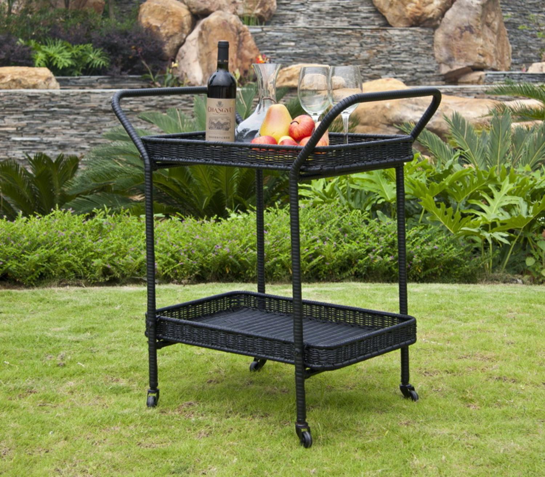 "32"" Black Resin Wicker Outdoor Patio Garden Serving Cart with Wheels by CC Outdoor Living"