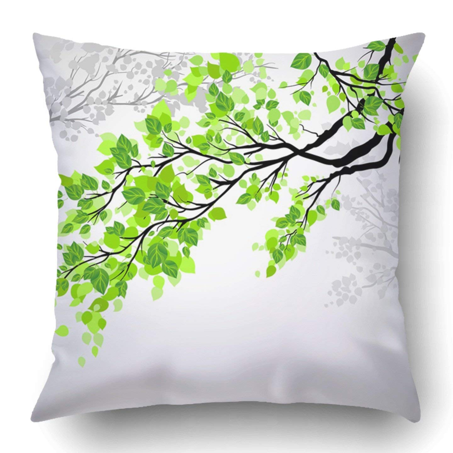 WOPOP Green Tree Branch with Leaves Leaf Silhouette Spring Woods Beauty Bright Brightly Pillowcase 18x18 inch