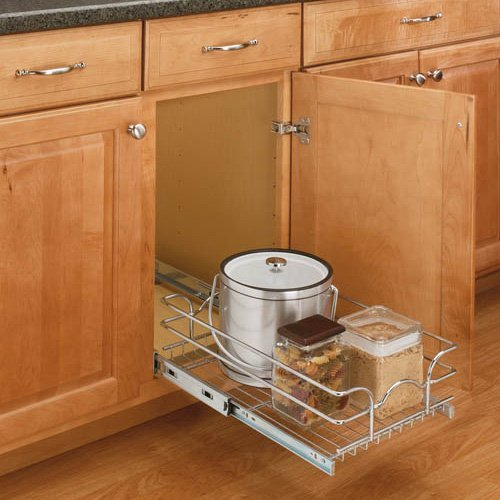 Rev-a-Shelf Pull-Out Single Wire Basket - 11.375W x 22.125D in.