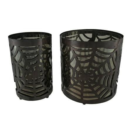 Set of 2 Metal & Glass Spiderweb Candle Holders Halloween - image 2 de 2