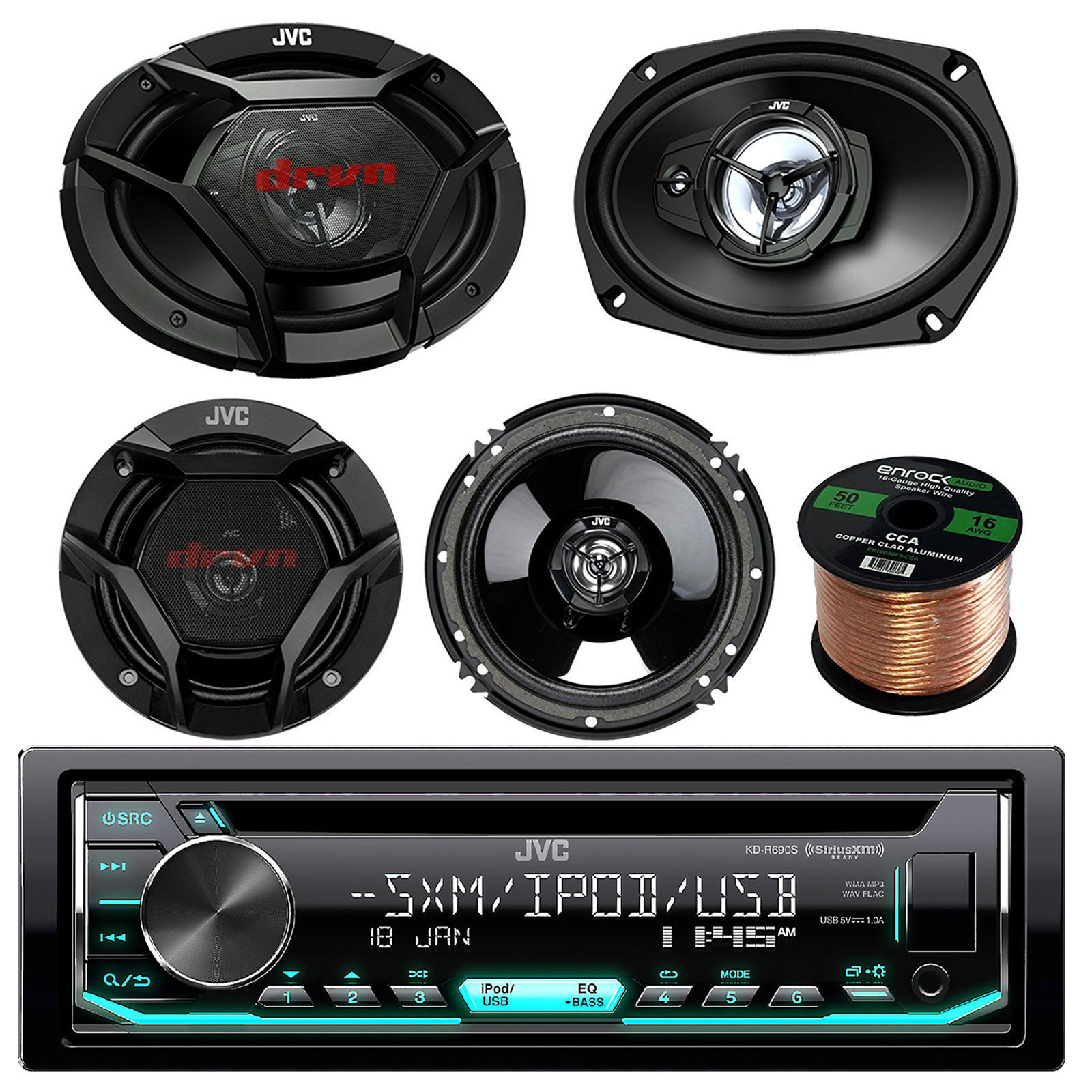 "JVC KD-R690S CD/MP3/WMA Receiver Bundle Combo With 2x JVC CS-DR6930 6x9"" 1000w 3-Way Vehicle Stereo Coaxial Speakers + 2x CS-DR620 6.5"" 300W 2-Way Audio Speakers + Enrock 50 Foot 16 Gauge Speaker Wire"