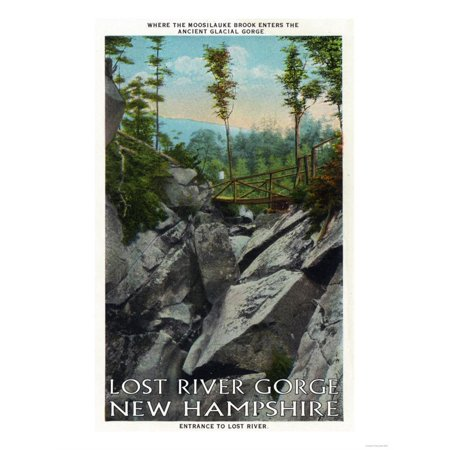White Mountains, NH - Lost River Entrance View of a Ancient Glacial Gorge Print Wall Art By Lantern