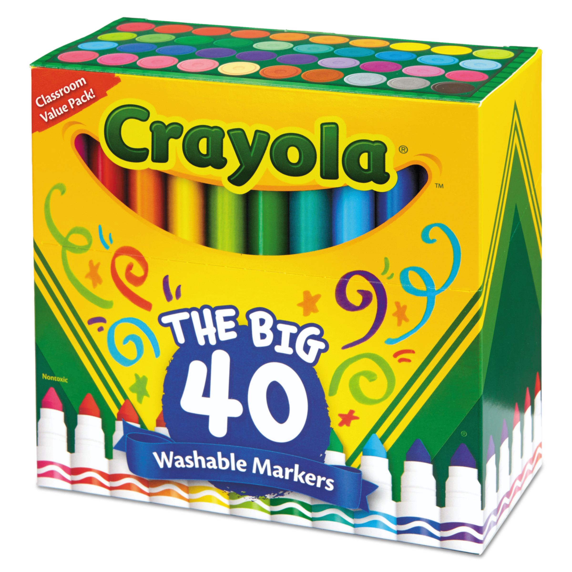 Crayola Broad Line Washable Markers, Assorted Colors, 40 Count