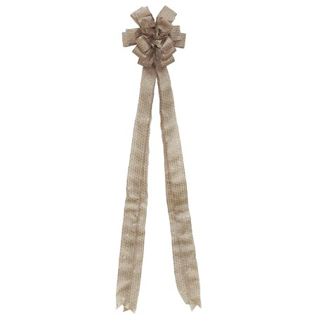 """48"""" Burlap with Silver Glitter Stripes 16 Loop Christmas Tree Topper Bow Decoration"""