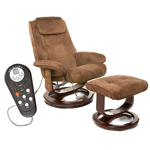 Reclining Massage Chair relaxzen reclining massage chair and ottoman, brown microseude