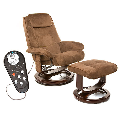 Relaxzen Reclining Massage Chair and Ottoman, Brown Microseude