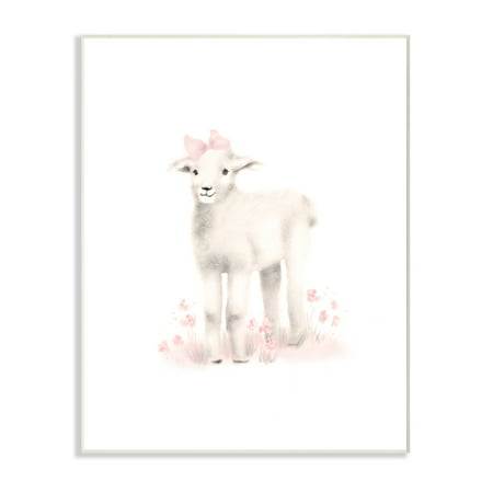 The Kids Room by Stupell Sweet Baby Lamb with Pink Bow Wall Plaque Art, 10 x 0.5 x 15 for $<!---->