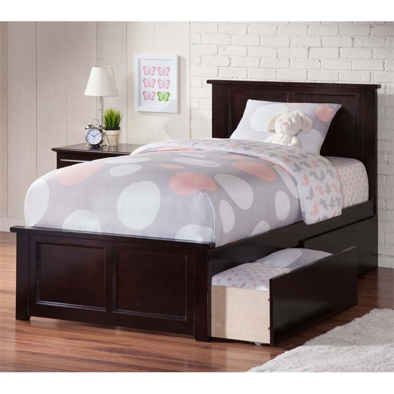 Madison Twin XL Platform Bed with Matching Foot Board with 2 Urban Bed Drawers in Espresso