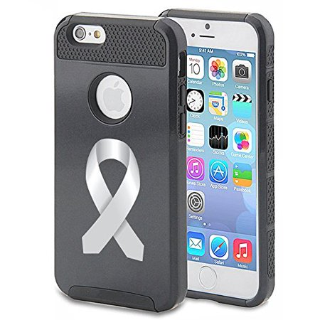 For Apple iPhone 7 Shockproof Impact Hard Soft Case Cover Diabetes Brain Cancer Parkinson's Disease Lung Cancer Color Awareness Ribbon (Black) - Lung Cancer Awareness Color