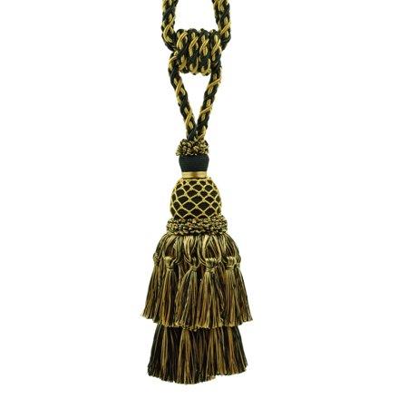 (Magnificent Black & Gold Large Curtain & Drapery Tassel Tieback / Large 9