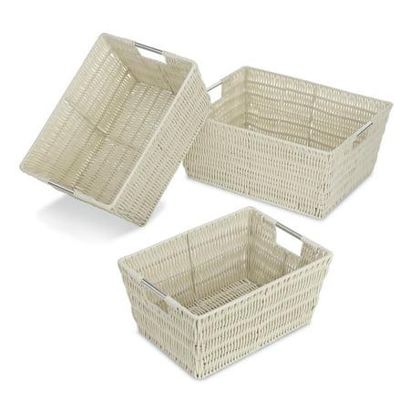 Whitmor Rattique Nesting Decorative Basket Set of 3 - Latte
