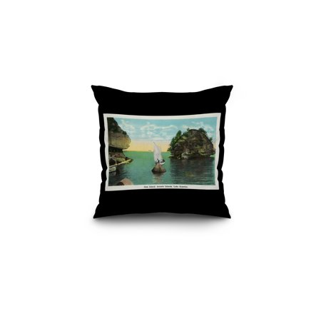 - Lake Superior, Wisconsin - Apostle Islands, Gem Island Scene (16x16 Spun Polyester Pillow, Black Border)