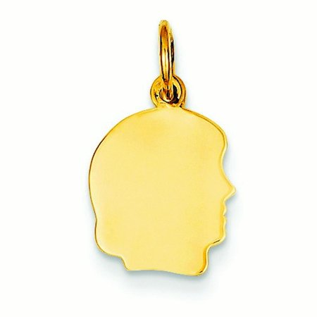 14K Yellow Gold Plain Sml   013 Gauge Facing Right Girl Head Charm    5 Grams